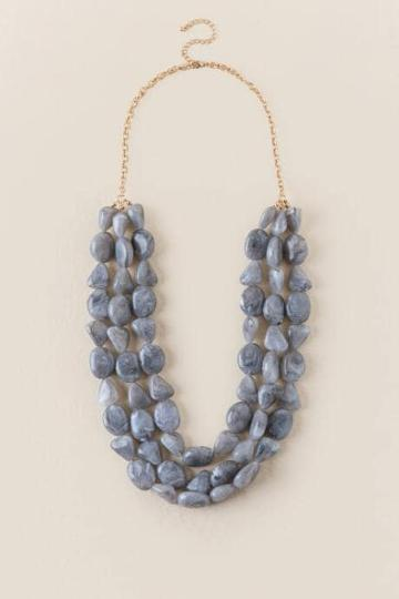 Francesca's Cora Beaded Strands Necklace In Gray - Gray