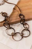 Francesca's Deana Resin Links Necklace - Brown