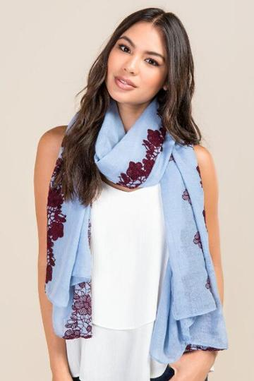 Francesca's Fay Embroidered Floral Scarf - Blue