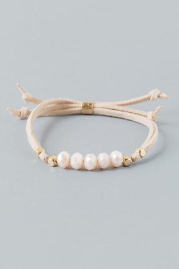 Francesca's Whitley Beaded Suede Pull Tie Bracelet - Blush