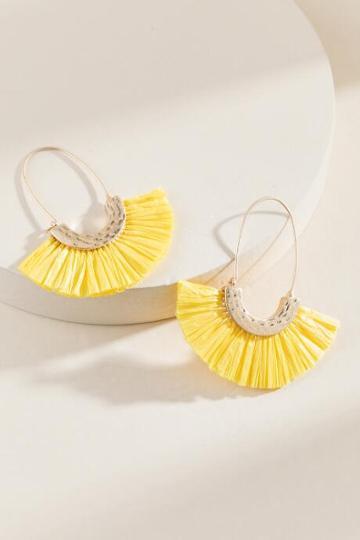 Francesca's Stacie Raffia Fanned Hoops - Yellow