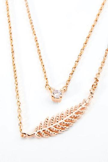 Francesca's Kiley Leaf Pendant Layered Necklace - Rose/gold