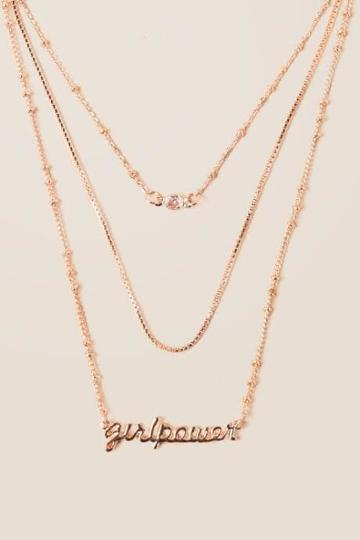 Francesca's Girl Power Layered Necklace In Rose Gold - Rose/gold