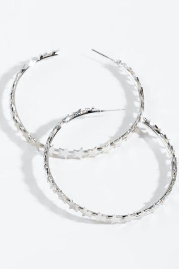Francesca's Kelsey Mini Star Hoops - Silver