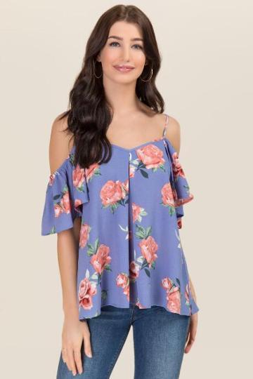 Francesca's Zadie Flutter Sleeve Cold Shoulder Top - Oxford Blue