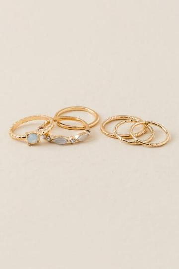 Francesca Inchess Laina White Opal Stacking Rings - White