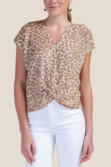 Edgemine Scarlet Leopard Print Front Tie Top - Sand