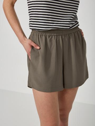 Frank + Oak Fluid Pull-on Shorts In Dusty Khaki