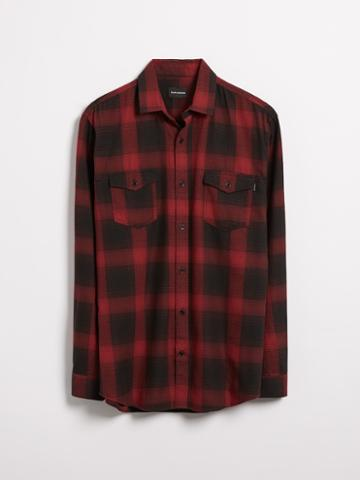 Frank + Oak Denim Checkered Flannel Shirt In Dark Red