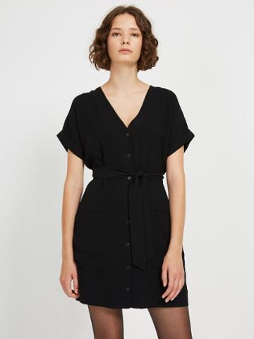 Frank + Oak Front Button V-neck Dress In Black