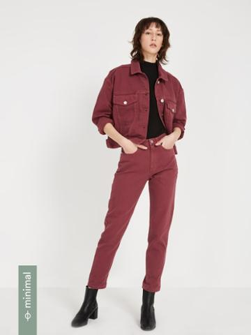 Frank + Oak Cropped Denim Jacket - Roan Rouge
