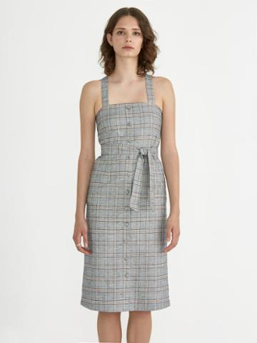 Frank + Oak Front Button Pinafore In Prince Of Wales