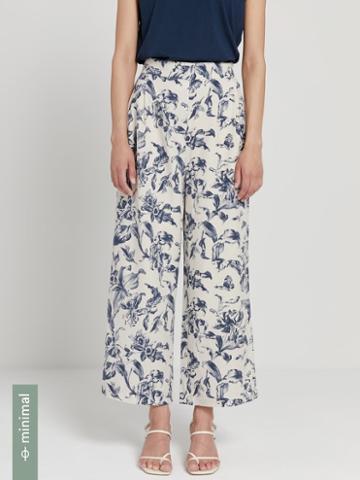 Frank + Oak Linen-tencel Lyocell Printed Wide-leg Pants In Gray