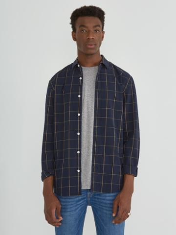 Frank + Oak Seersucker Windowpane Shirt In Navy