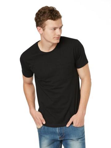 Frank + Oak Crewneck Pocket T-shirt In Black
