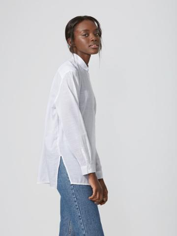 Frank + Oak Oversized Cotton-voile Shirt In Bright White