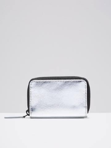 Frank + Oak The Villa Mini Leather Zip Wallet In Silver