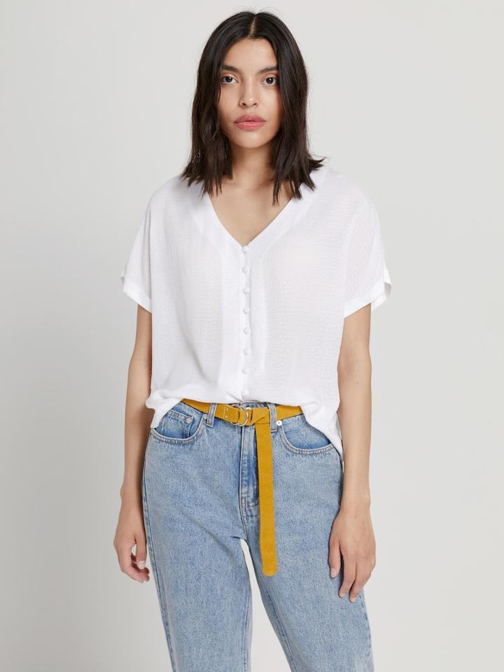 Frank + Oak Button-down Loose Blouse In White