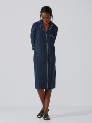 Frank + Oak Silk Elbow-sleeve Shirt-dress In Dark Saphire