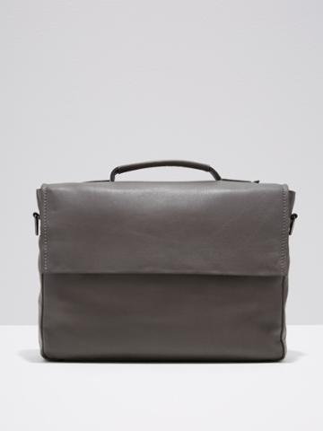 Frank + Oak Leather Messenger In Grey
