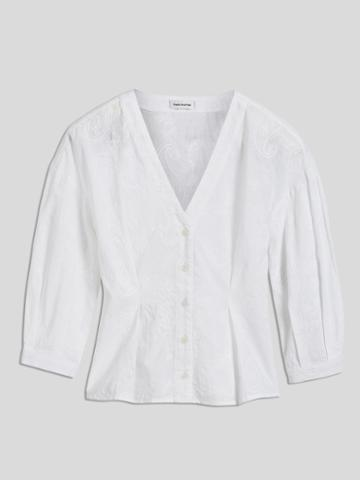 Frank + Oak Balloon Sleeve Cotton Blouse In White