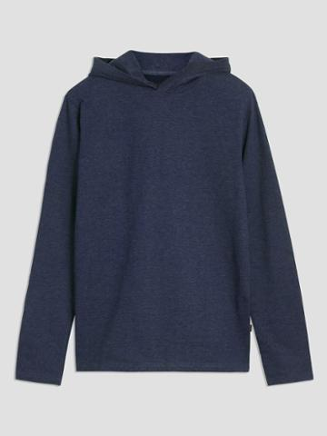 Frank + Oak Organic-recycled Light Terry Pullover Hoodie In Navy