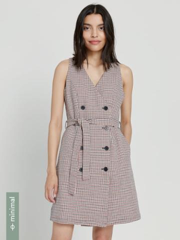 Frank + Oak Good Cotton Houndstooth Sleeveless Wrap Dress In Multi