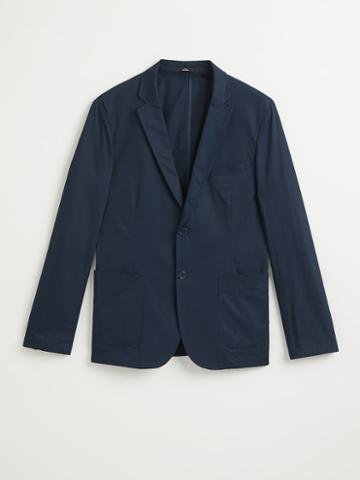 Frank + Oak The Laurier Cotton Blazer In Dark Navy
