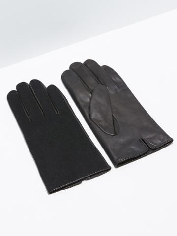 Frank + Oak Wool & Lambskin Gloves In Black