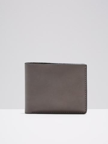 Frank + Oak Leather Slim Bifold Wallet In Grey