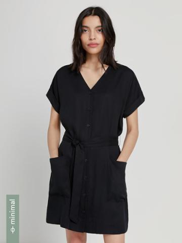 Frank + Oak Tencel Lyocell Button Front Dress In True Black