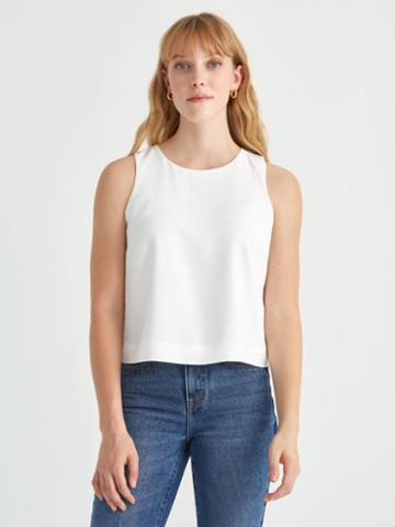 Frank + Oak Sleeveless Crop Top In Bright White