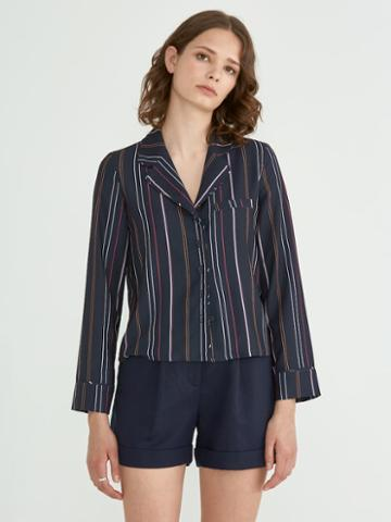Frank + Oak Printed Stripe Crepe Blouse In Navy
