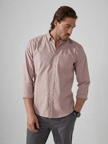 Frank + Oak Garment-dyed Lightweight Oxford Shirt In Antique Pink
