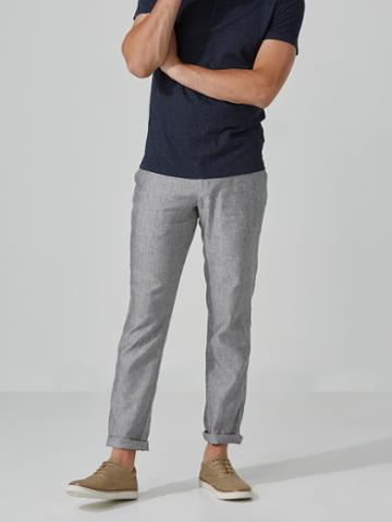 Frank + Oak The Becket Chambray Trouser In Grey Heather