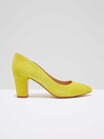 Frank + Oak The Gallery Block-heel Suede Pump In Lemon