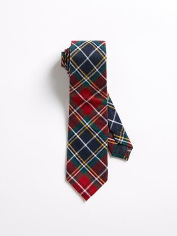 Frank + Oak Cotton Tartan Pattern Slim Tie - Red/blue