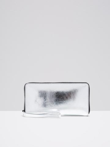 Frank + Oak The Citta Leather Zip Wallet In Silver