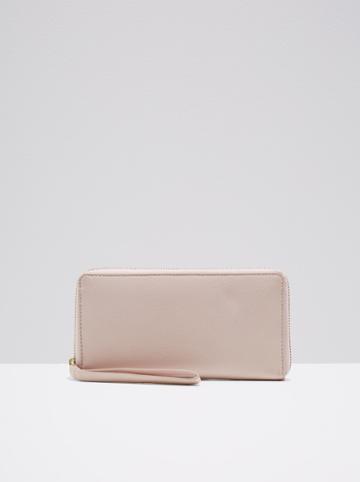 Frank + Oak The Citta Leather Zip Wallet In Dusty Pink