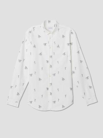 Frank + Oak Bird Print Oxford Shirt In Snow White