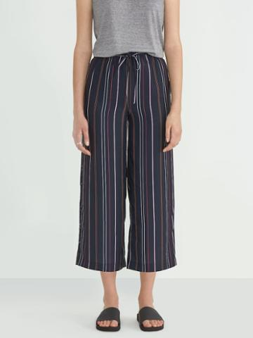 Frank + Oak Printed Wide Leg Pant In Navy
