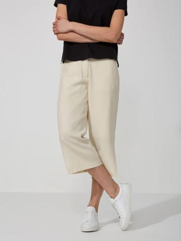 Frank + Oak Textured Wide-leg Culottes In Snow White