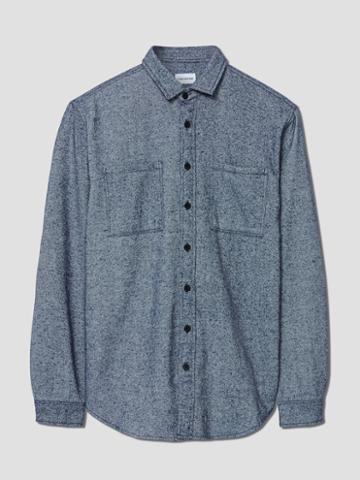 Frank + Oak Brushed-cotton Elbow Patch Shirt In Navy