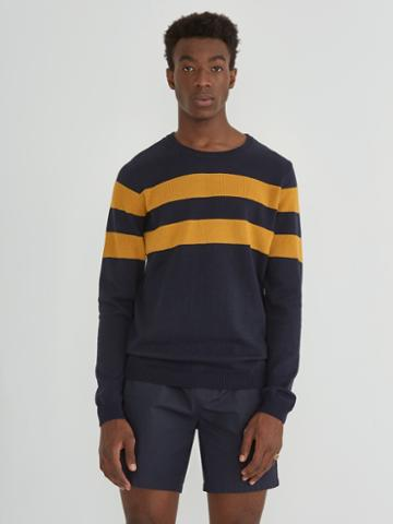 Frank + Oak Cotton Colour Blocked Crewneck Pullover In Navy