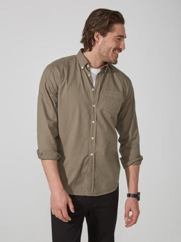 Frank + Oak Garment-dyed Lightweight Oxford Shirt In Sage Green