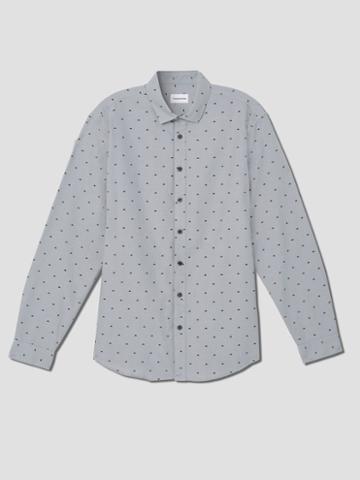 Frank + Oak Triangle Print Oxford Shirt In Stone Heather