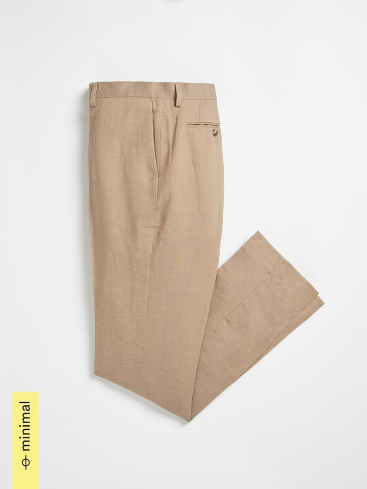 Frank + Oak Atelier Collection: The Laurier Organic Cotton-linen Dress Pant In Taupe