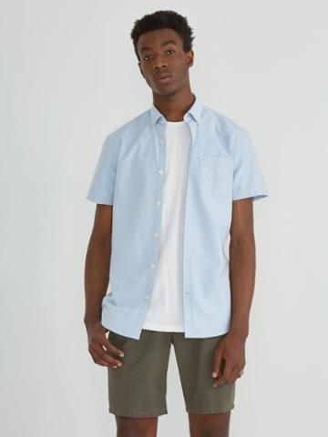 Frank + Oak The Marled Jasper Short Sleeve Oxford In Light Blue