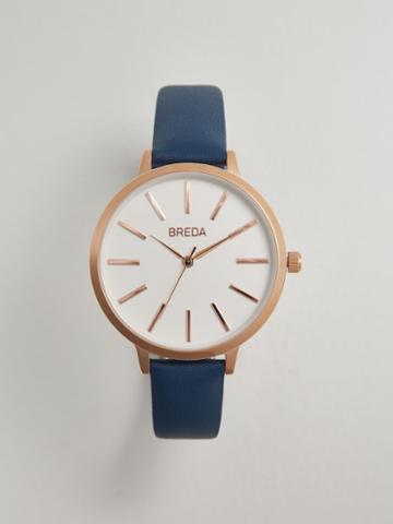 Frank + Oak Breda Joule Watch In Blue Leather/rose Gold