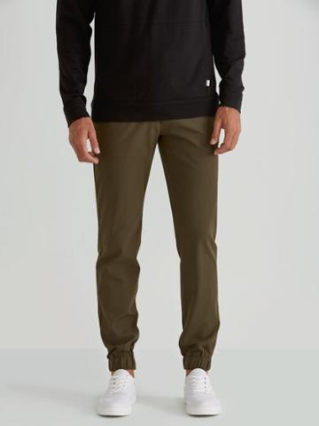 Frank + Oak Woven Cotton Twill Jogger In Dark Olive
